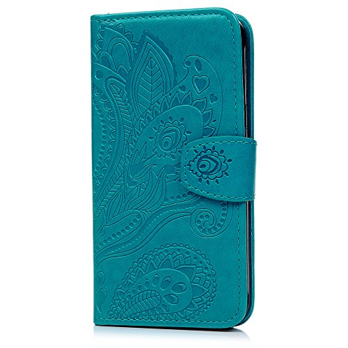 J3 Case, Galaxy J3 Case (2016 Version) - Wallet Case Folio Kickstand Case 3D Embossed Plants Premuim PU Leather Case Shockproof TPU Inner Bumper Slim Protective Cover for Galaxy J3 by Badalink - Blue