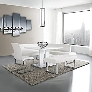 Armen Living Amanda Dining Table with White and Brushed Stainless Steel Finish