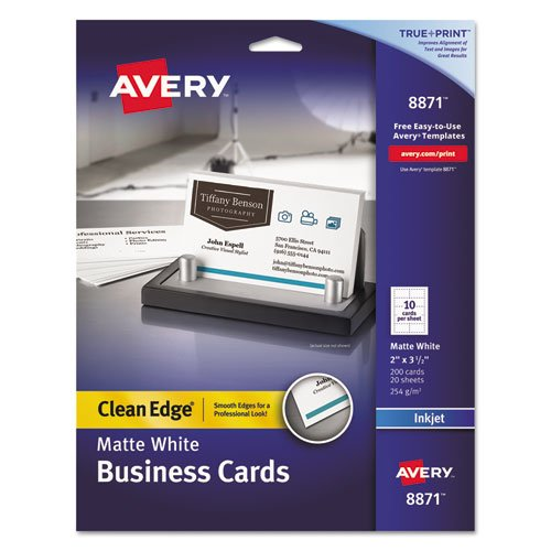 Two-Side Printable Clean Edge Business Cards, Inkjet, 2 x 3 1/2, White, 200/Pack, Sold as 200 Each ()