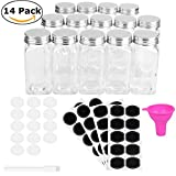 kitchen drawer spice insert - Spice Jars Bottles - 14 Square Glass Containers (4 oz) with 40 Chalkboard Labels, Chalk Marker, Stainless Steel Lids, Shaker Insert Tops and Wide Funnel - Complete Organizer Set
