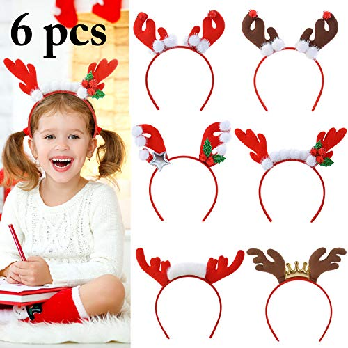 Christmas Reindeer Headbands,Aniwon 6PCS Xmas Headband Hairbands Headwear with Cute Elk Antlers for Kids Adults Christmas Party Supplies ()