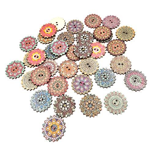 SM SunniMix 100pcs Wooden Gear Flower Buttons / 2 Holes Fastener Buttons/Mixed Pattern, 2 Sizes (20mm 25mm) - 25mm