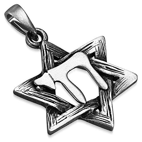 My Daily Styles Pewter Silver-Tone Jewish Star of David Living Chai Men's Pendant Necklace, 22