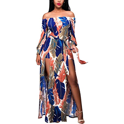 Caopixx Long Dress, Strapless Boho Long Dress Floral Print Puff Sleeve Summer Dresses (Asia Size S, Multicolor)