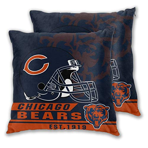 - Marrytiny Custom Colorful Set of 2 Pillowcase Chicago Bears American Football Team Bedding Pillow Covers Pillow Cases for Sofa Bedroom Home Decorative - 22x22 Inches