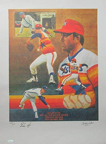 Nolan Ryan Astros Strikeout Record Signed 18x24 Lithograph Paluso 140955 Tristar Productions Certified