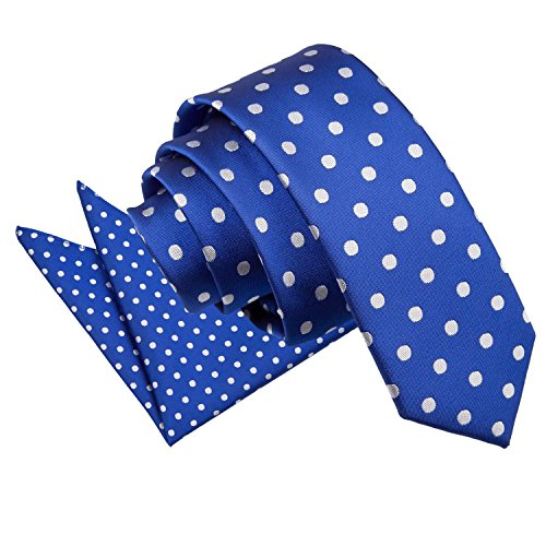 Casual Patterned Woven Tie Handkerchief Hanky Various Premium 5cm Polka Necktie Blue Business Men's with Colours Microfibre Matching Narrow Square DQT Royal Skinny Pocket Set Fashion Dot nqfC5pCwO