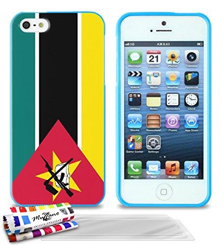 Ultraflache weiche Schutzhülle APPLE IPHONE 5 [Mosambik Flagge] [Blau] von MUZZANO + 3 Display-Schutzfolien UltraClear + STIFT und MICROFASERTUCH MUZZANO® GRATIS - Das ULTIMATIVE, ELEGANTE UND LANGLEB