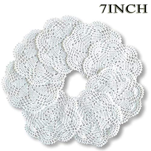 DUDUA 8pcs Crochet Round Cotton Lace Table Mats Handmade Kitchen Doilies Crochet 7 Inch White