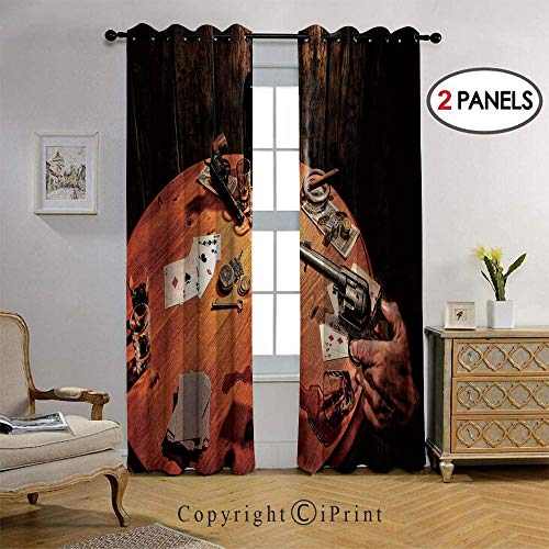 RWNFA Fashion Design a Revolver Gun Poker Cards Table Drinks Cigars Dark Saloon Thermal Insulated Blackout Curtain with Grommet Tops for Bedroom, 36 by108 inch, 2 Panel,Orange Brown Black
