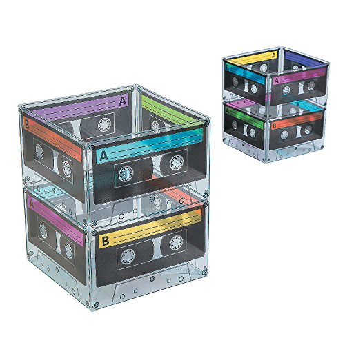 Fun Express - Cassette Tape Buckets for Party - Party Supplies - Containers & Boxes - Plastic Containers - Party - 6 Pieces ()