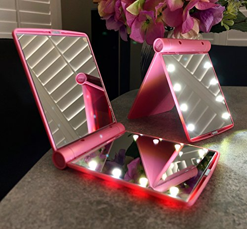 Stez Essentials Portable Light Up Travel Mirror Pink