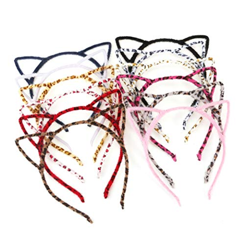 Unomor Cat Ears Hair Headband Fluffy Hair Hoop for Cat Birthday Party Supplies and Daily Accessories, 12 Pieces with 12 Colors ()