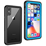 Lanwow iPhone X Waterproof Case, Wireless Charging Support iPhone X Underwater Shockproof Case Anti-Cracking with Built-in Screen Protector Rugged Waterproof Case for iPhone X- Sky Blue