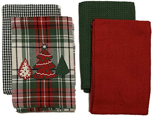 Nidico Set of 4, 100% Cotton Christmas Tree on Holiday Plaid Kitchen Towels 2 Plain Waffle Weave and 2 Plaid Towels.