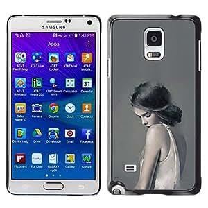 Caucho caso de Shell duro de la cubierta de accesorios de protección BY RAYDREAMMM - Samsung Galaxy Note 4 - Muchacha en blanco