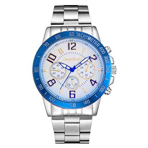 Pc Movement Round Dial (Naladoo Fashion Men Solar Round Crystal Stainless Steel Analog Quartz Wrist Watch Bracelet (C))