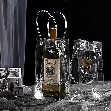 Bolsa de hielo portátil para vino, bolsa refrigeradora,bolsa de hielo a prueba de fugas,bolsa de PVC con asa,se puede utilizar para fiestas, al aire libre,champán,cerveza fría,vino blanco (2 unidades)