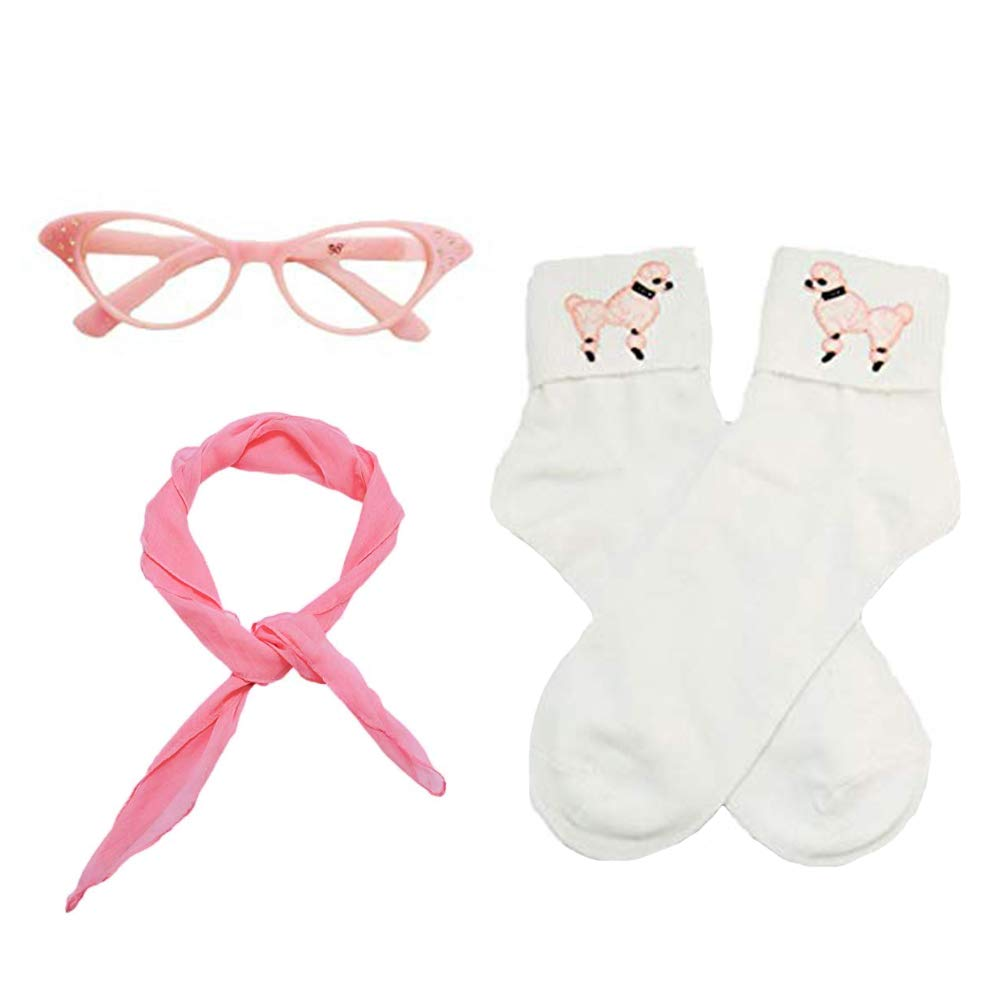 NEWCOS 1950s Child Poodle Costumes Accessory Sets Chiffon Scarf, Cat Eye Glasses, Bobby Socks