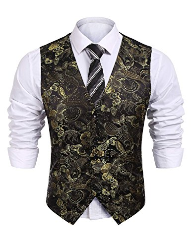 Coofandy Mens Formal Paisley Dress Vests Dragon Graphic Fashion Waistcoat For Suit or Tuxedo(Yellow,XXL)