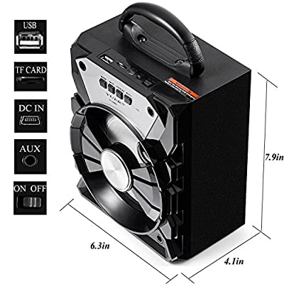 YUER Bluetooth Speaker with USB FM Radio TFCard 3.5mmAux,Color Changing Portable Wireless Speaker Used for Home or Outdoor (black)