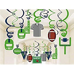30Ct American Football Hanging Swirl Decorations - Sport Game Day Birthday Party Supplies Fan Decors