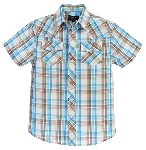 Gioberti Boys Casual Western Plaid Pearl Snap-on Buttons Short Sleeve Shirt, Brown/Blue : Size 10