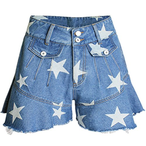 gonna stampato volant donna sexy vita con a Blu Oudan con Shorts chic in alta denim qgzPYa