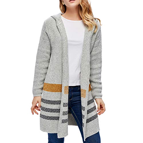 - Giftu Ladies' Longs Casaul Open Front Striped Hooded Cardigan Sweater Coat (Small, Yellow)