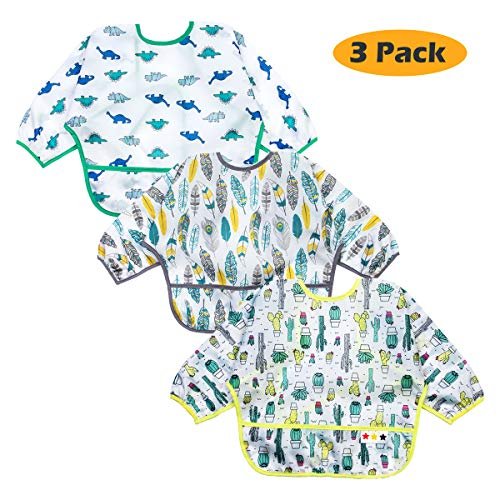 Baby Bibs Long Sleeved 6-24 Months - Waterproof Bibs for Babies - Unisex 3-Pack Full Coverage Apron Bib Smock Toddler bibs with Pocket - Washable