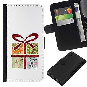 SONY Xperia Z2 / D6502 / L50 Modelo colorido cuero carpeta tirón caso cubierta piel Holster Funda protección - Wrapped Gift Art Drawing Bow Birthday