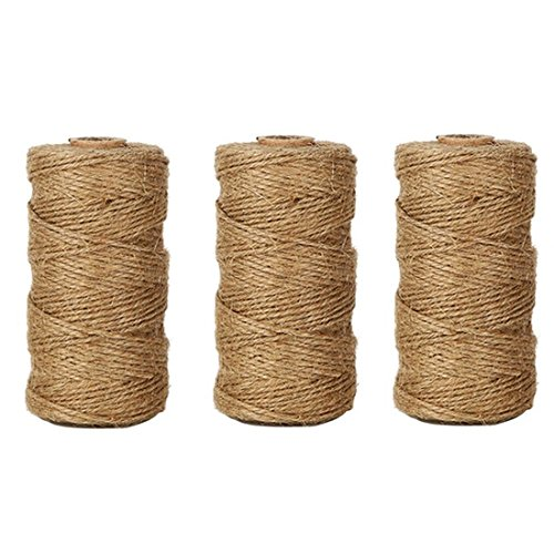 3 PcsX328 Feet Natural Jute Twine Arts Crafts Christmas Gift Twine Packing String by KINGLAKE