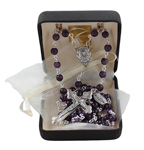 Semi Precious Italian Rosary Rosary with 6MM Amethyst Beads and Ivory Organza Bag