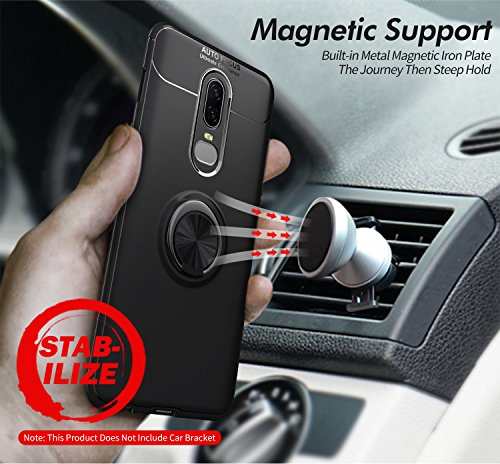 OnePlus 6T Case with HD Screen Protector,I VIKKLY Slim Flexible and Durable Soft [TPU] 360 Degree Rotating Ring Kickstand Shockproof Case Fit Magnetic Car Mount for OnePlus 6T 6.4'' (2018) (Red) by I VIKKLY (Image #7)