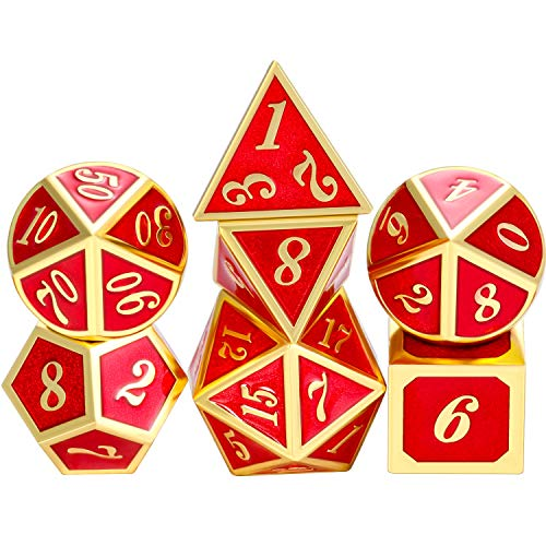 TecUnite 7 Die Metal Polyhedral Dice Set DND Role Playing Game Dice Set with Storage Bag for RPG Dungeons and Dragons D&D Math Teaching (Shiny Gold and Red)