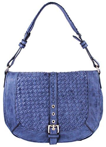 Basketweave Celebrity Fashion Designer Hobo Handbag Shoulder Bag Purse - Blue