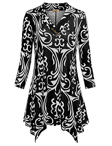 Timeson Casual Tunic Shirt, Women Lightweight Black Tunic Shirt V Neck Button Embellished Soft Floral Flowy Tunic Tops(Multicolor Black,XX-Large) (Centennial Park Lights Christmas)