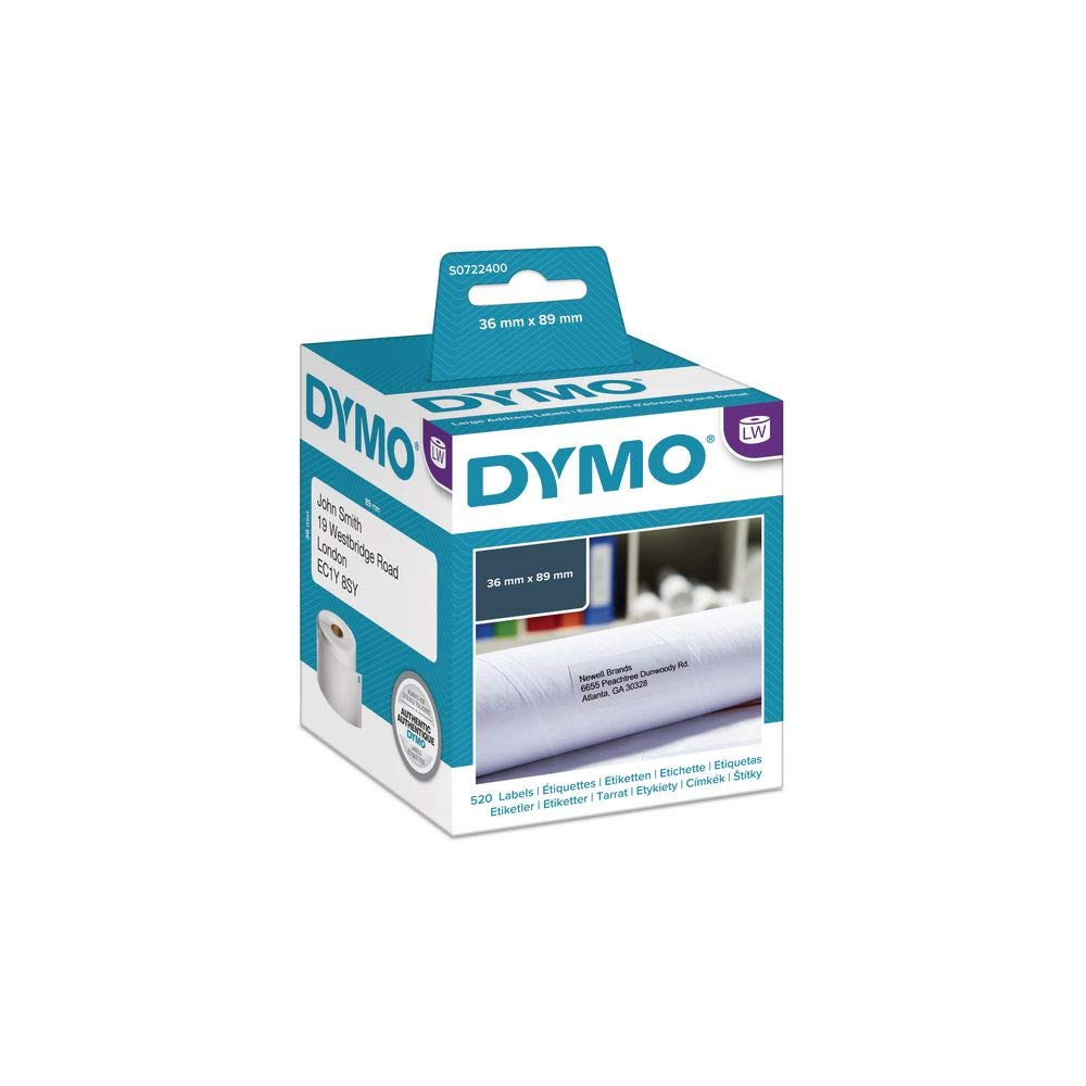 DYMO LABELWRITER ADDRESS LABELS 99012 S0722400 89MM x 36MM 2 ROLLS OF 260 LABELS