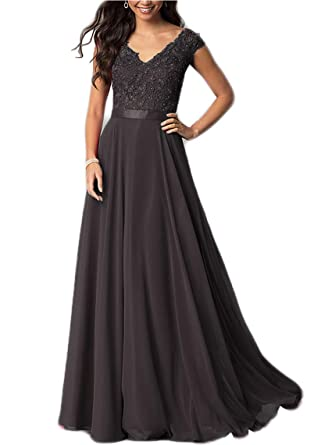 7df97b2d91aa Cap Sleeve V-Neck Prom Dress Lace Floor-Length Bridesmaid Dresses ...