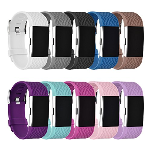 Fitbit Charge 2 Replacement Band By GHIJKL - Soft Flexible Silicone Wristband - Adjustable Length - Sizes For Men & Women - Breathable Bracelet - Durable Closing Clasp - Variety Of Colors Available