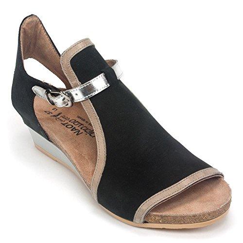 NAOT Women's Fiona Black Velvet Nubuck/Khaki Beige Leather/Silver Mirror Leather 39 M EU