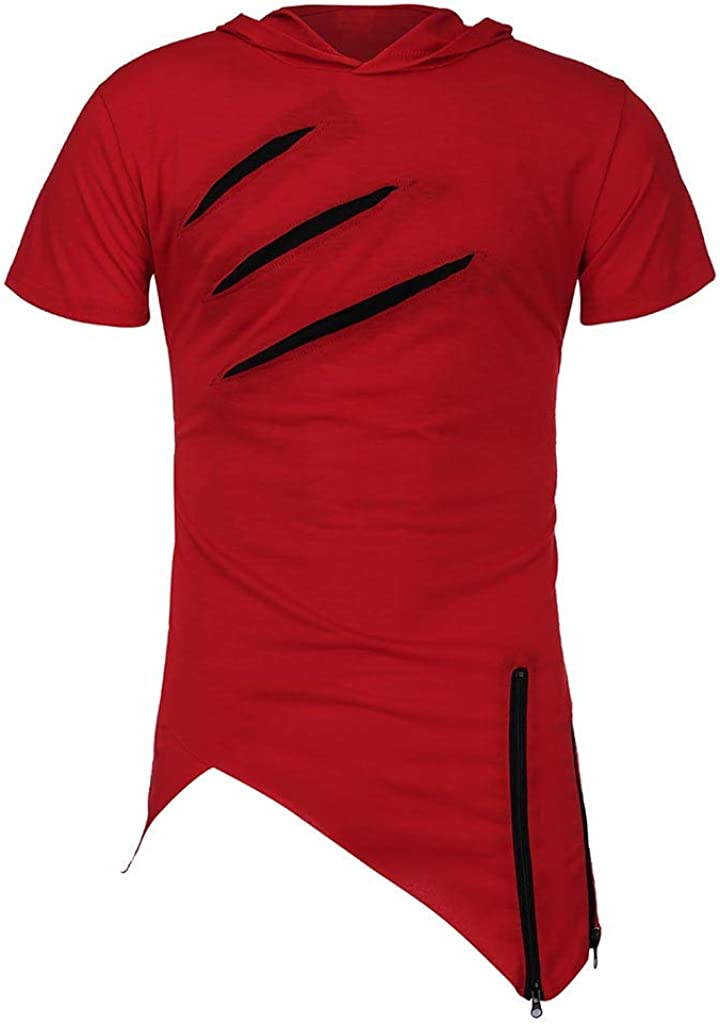 Leaf2you Tunic Tops for Mens Short Sleeve Hooded T-Shirt Tees Solid Color Hoodie Blouse Irregular Hem Pullover Shirts Tops