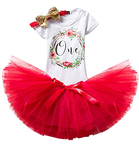 (TTYAOVO Girl Skirt Newborn 3pcs Baby's 1st Birthday Set/Outfits with Romper + Tutu Dress + Headband Size 1 Years Red(with)