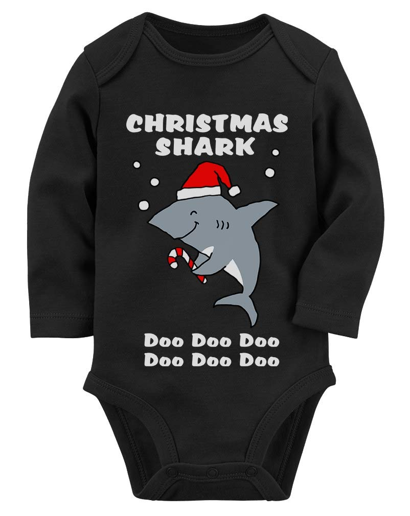 Christmas Baby Shark Doo Doo Doo Family Holiday Song Baby Long Sleeve Bodysuit