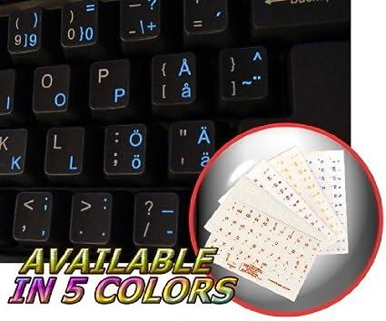 Sueca – Finlandesa teclado adhesivo con el texto azul fondo transparente para portátiles, ordenadores de sobremesa y portátil