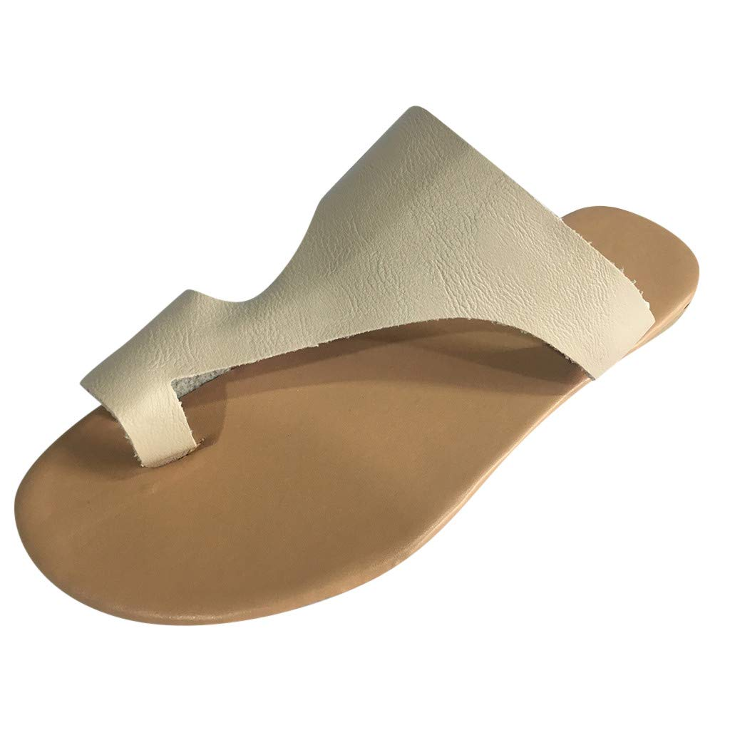Walking Shoes,Londony❀ Womens Open Toe Gladiator Flat Sandals Slingback Ankle Strap Casual Beach Roman Summer Shoes Beige