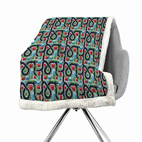 Khakihome Kids Car Race Track Roadway Activity Flannel Bed Blankets 60 by 78 Inch Queen MulticolorCrossroads Top View in Highway with Houses and Trees