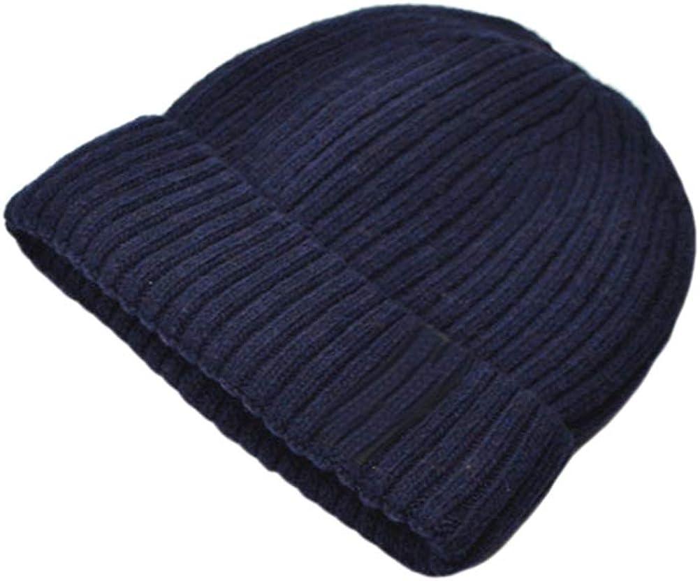 NewCime Mens Warm Slouchy Knit Skull Cable Beanie Cuffed Plain Skull Hat Wool Ski Cap Accessories