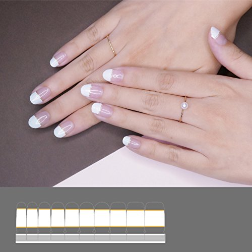 French Applique (LIHI EXTRE ADHESION 22PCS Nail Art Transfer Decals Sticker Glitter Series DIY Nail Polish Strips ,Nail Wraps, Nail Patch,100% Real Nail polish applique for Manicure, Wedding, Party, French Elegance)