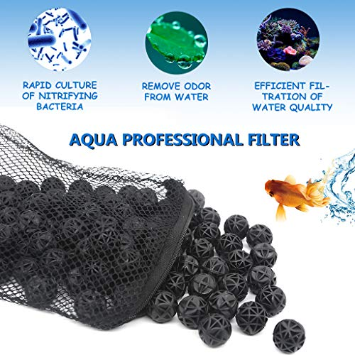 (boxtech Bio Balls Filter Media, Aquarium Filter Bio Ball - Biological Filtration Rings with Media Bags for Aquarium Fish Tanks)